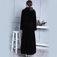 Нерадзурри удлиненная искусственного меха пальто женский, черный Роскошные ботфорты Размеры d Duster пальто юбка пушистый искусственный мех в