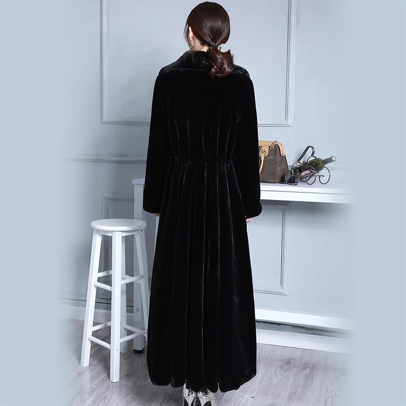 Nerazzurri Extra Long Faux Fur Coat Women Turn-down Collar Black Luxury Oversized Overcoat Wave Skirt Hem Plus Size 4XL 5XL 6XL