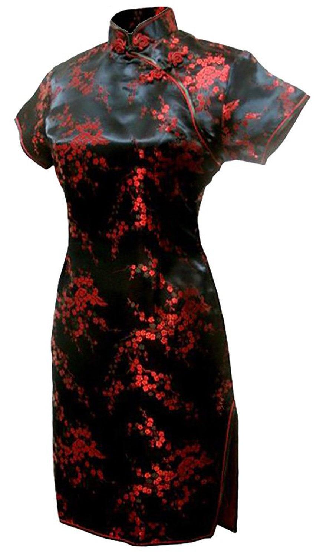 Shanghai Story Short Qipao Plum Blossom Dragon Print Short Cheongsam Chinese Traditional Dress Oriental Dress