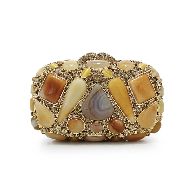 Women Jewel Hollow Out Peach Gold Crystal Rhinestone Evening Clutch Bag Wedding Bridal Metal Handbag Clutches Bag(88209-Y)