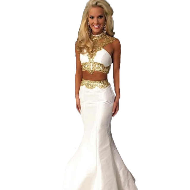 2a1d6e49447 2017 White And Gold Mermaid Prom Dresses Two Piece Fast Shipping