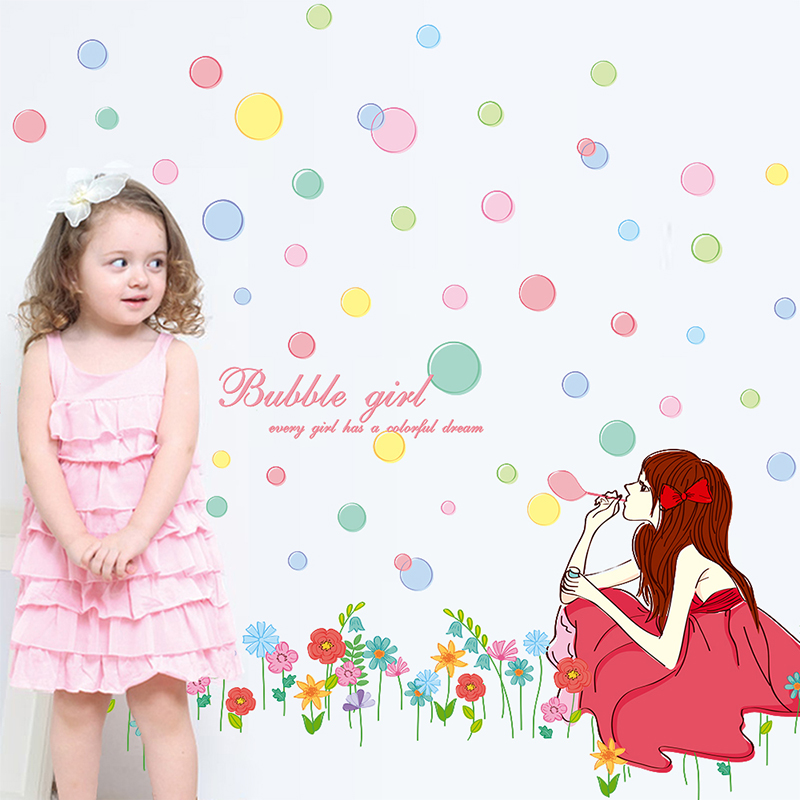 [SHIJUEHEZI] Girl Wall Sticker Vinyl DIY Colorful Bubbles Flowers Mural Art for Kids Rooms Kindergarten Living Room Decoration
