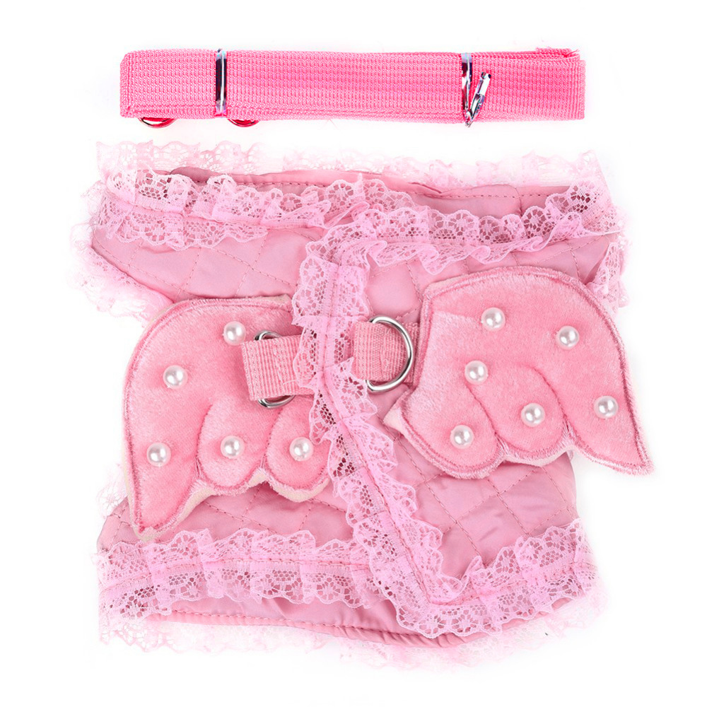 Cute Pet Dog Pearl Angel Harness Vest Collar Dog Chest Strap Leash for Chihuahua Teddy S/M/L 1PCS 2018 Drop Shipping