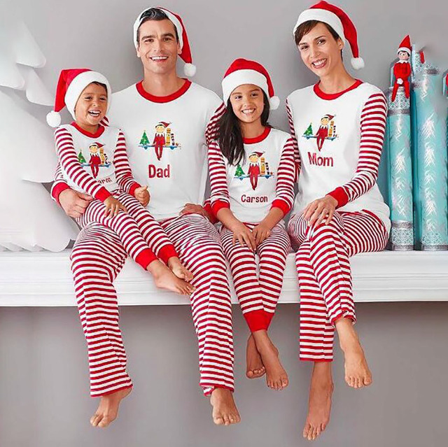 New Year Sleepwear Long-sleeved Letter Adult Kids Christmas Pajamas Suit  Toddler Xmas Nightwear Elf Family Matching Clothes a72d694a9