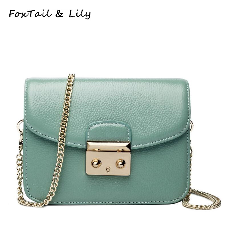 FoxTail & Lily Mini Gold Chain Crossbody Bags for Women Genuine Leather Small Shoulder Messenger Bags High Quality Flap Bag vm fashion kiss genuine leather serpentine chain small messenger bags for women high quality mini shoulder bags falp bag lady