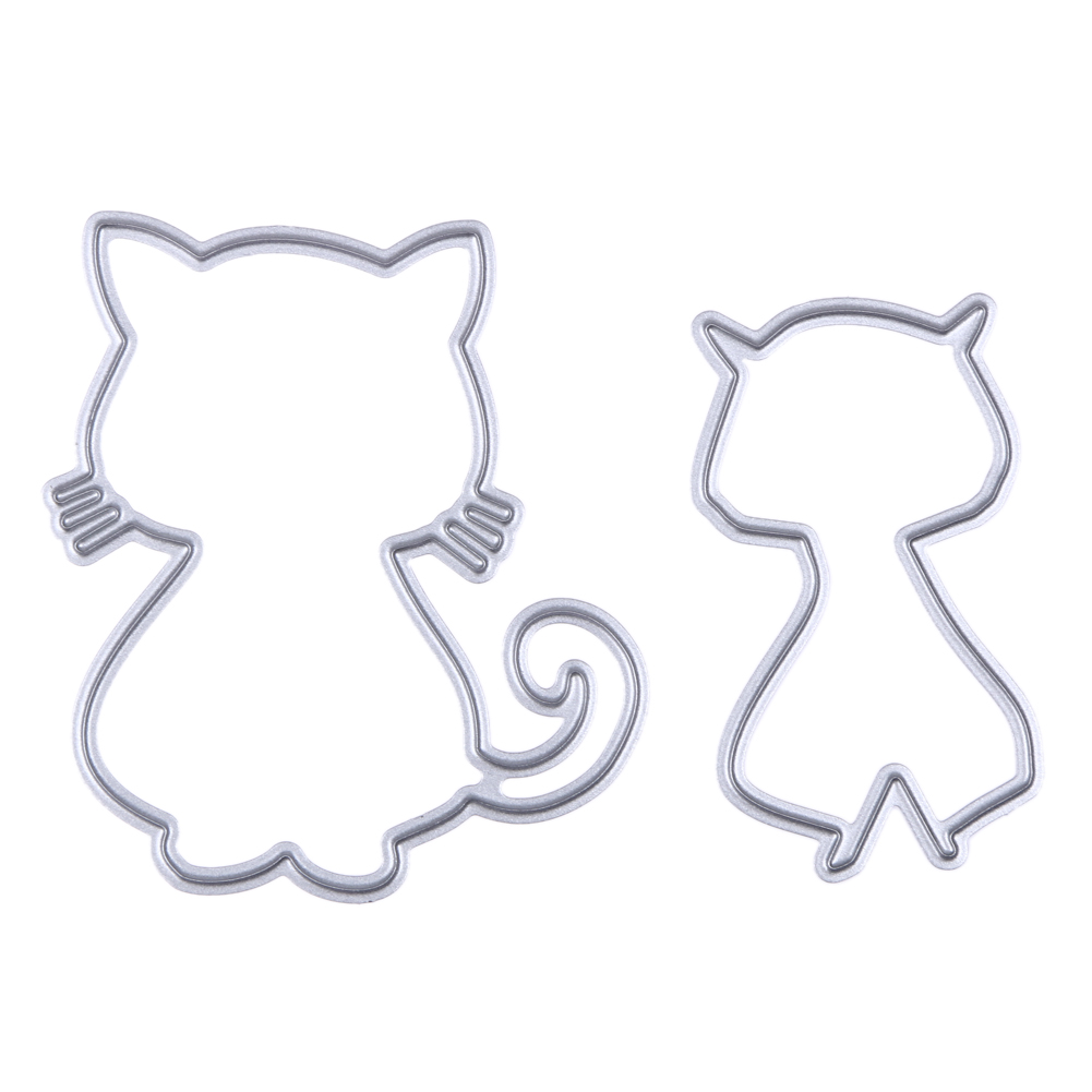 ②2 unids gato lindo metal troquelado muere para DIY scrapbooking ...