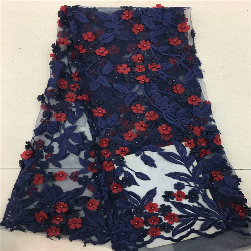 2018 Fashionble Style French 3d Flowers Tulle Lace Fabric Nigerian Embroidered Tulle Lace Fabric With Beaded Material  rof-1406