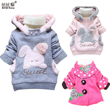 Kids Jackets 2015 Children Clothing Cartoon Rabbit Fleece Outerwear Girls Clothes Hooded Jacket  Winter Coat Roupa Infantil