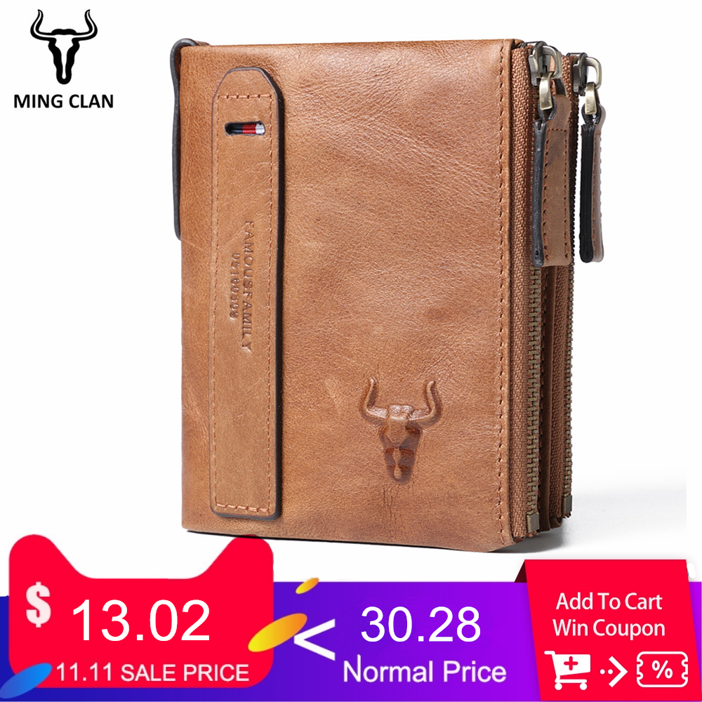 Mingclan Genuine Leather Men Wallets Short Coin Purse Business Card Holder Double Zipper Cowhide Leather Wallet Purse Carteira williampolo men wallets male purse genuine leather wallet with coin pocket zipper short credit card holder wallets leather