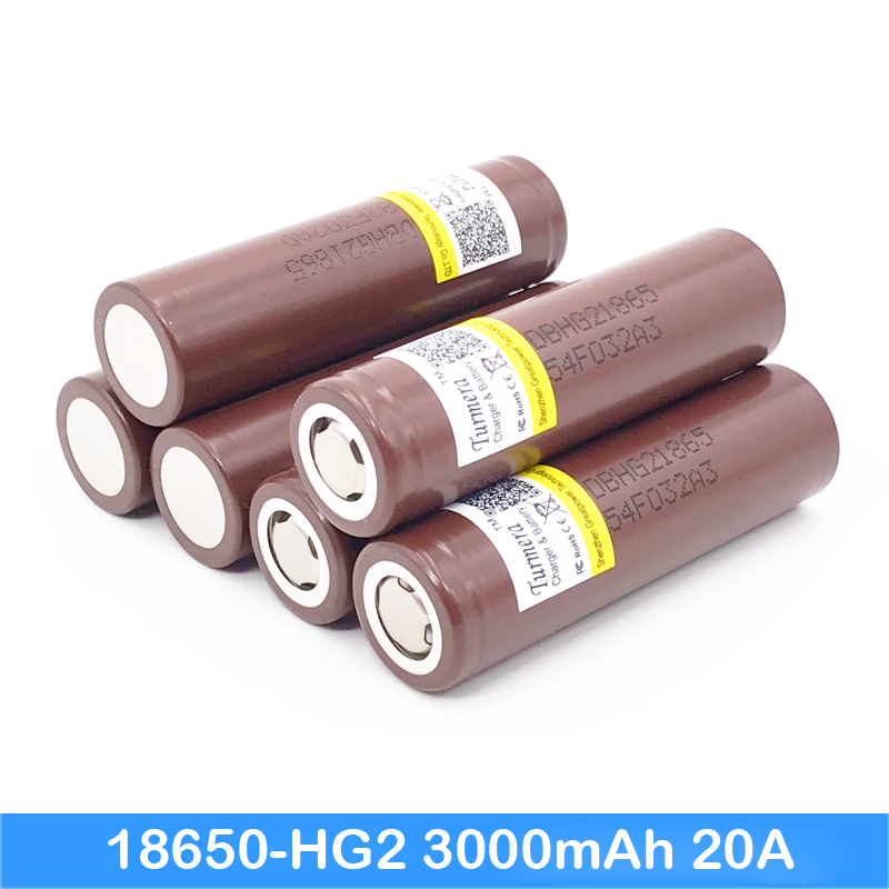 mod battery 18650 hg2 3000mah 20A font b electronic b font cigarette Rechargeable batteries for Turmera