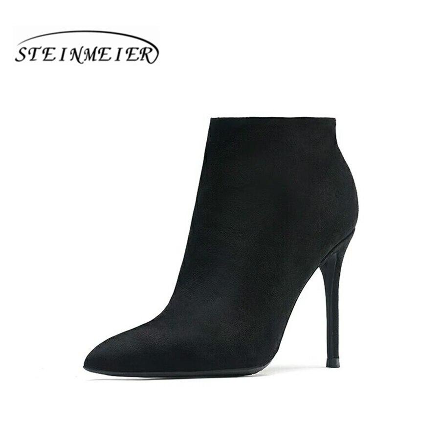 Оформление продаж! Женские зимние ботильоны 10 см с острым носком на молнии пикантные тонкий каблук серый, черный цвет короткие ботинки мато...