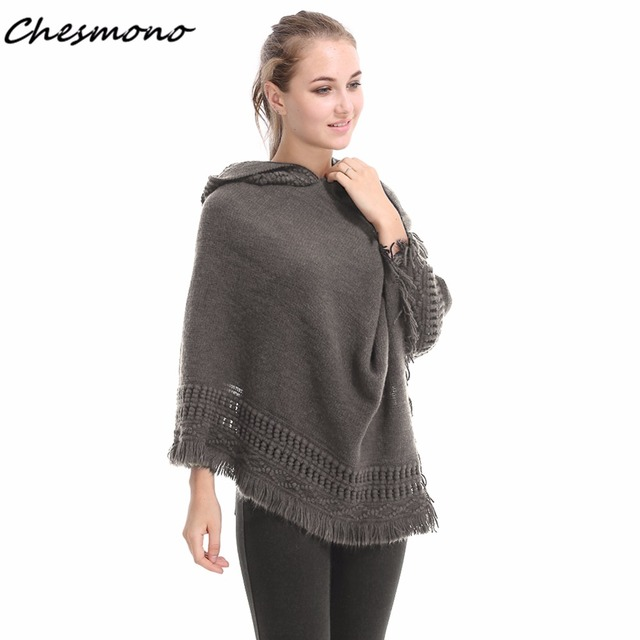 Women Cloak Hooded Sweaters Knit Batwing Top Crochet Poncho With