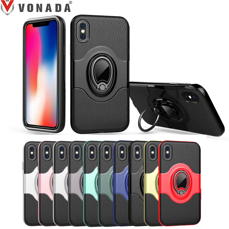 for Apple iPhone X Finger Ring 360 Degree Rotation Magnet Car Holder TPU PC Hybrid Shockproof Phone Case Cover for iphone 10