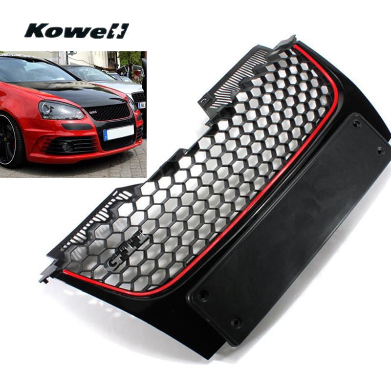 GTI Logo Front Bumper Center Grill Middle Grille for Volkswagen VW Golf GTI MK5 Gt Sport Car Auto Accessories Replacement Parts gti 16v grille emblem rhino tuning for vw golf mk2 mk1 gti 16v car grille grill badge golf matt chrome 3d abs badge car styling
