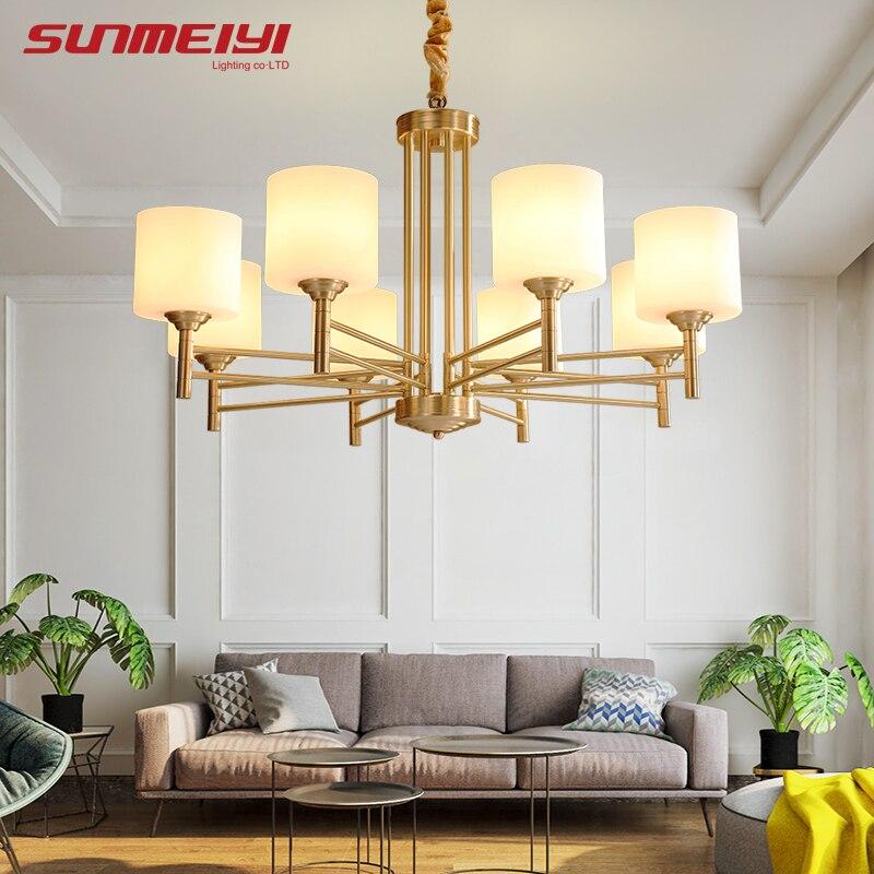 Américain Moderne LED lustres Pour salon salle À Manger lustres par quarto Tous Cuivre Vintage Lustre Éclairage