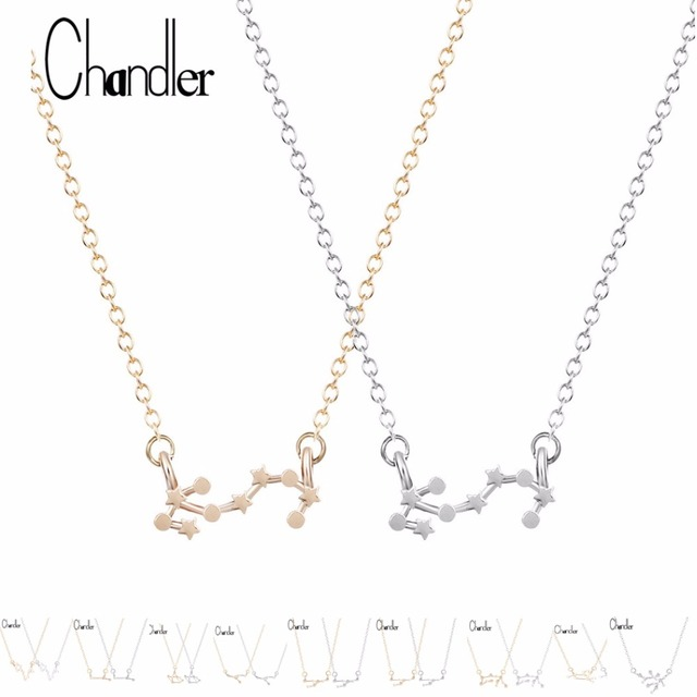 Chandler Hot Aries Pisces Pendant Necklace 12 Zodiac Sign Astrology Constellation Star Sign Chain Necklaces Girl Christmas Gift