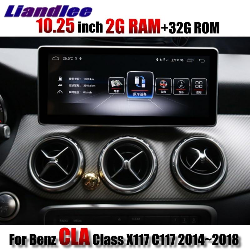 Liandlee Reprodutor multimídia Carro CarPlay 2g RAM NAVI Para Mercedes Benz MB Classe CLA X117 C117 2014 ~ 2018 navegação GPS Rádio do carro
