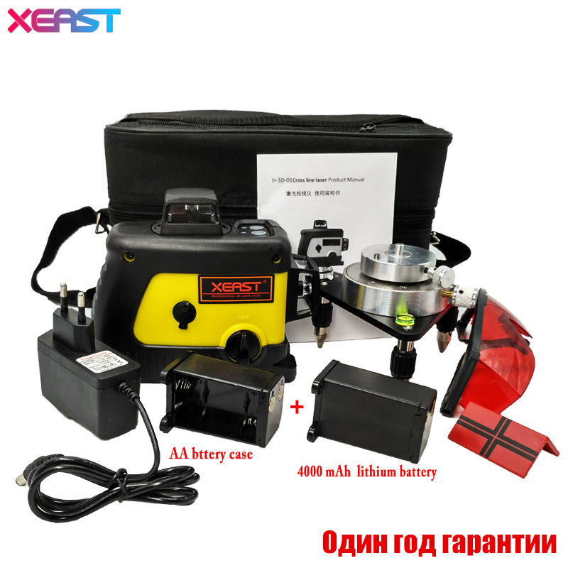 XEAST 12 line laser level 360 Vertical And Horizontal Self-leveling Cross Line 3D Laser Level Red Beam better than Fukuda 1pc laser cast line machine multifunction laser line cross line laser rotary laser level 360 selfing leveling 5 line 4v1h3 point