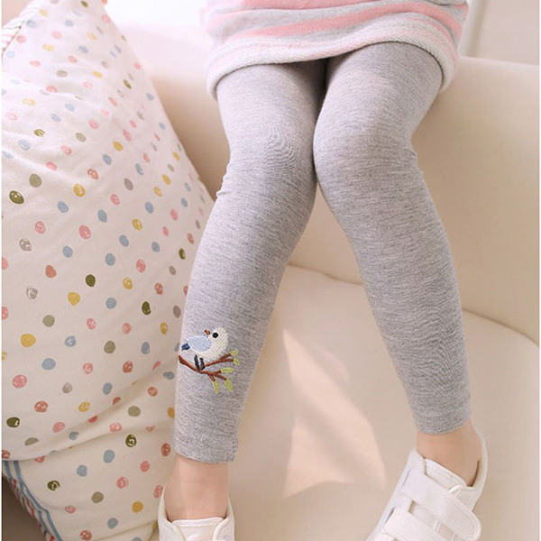 Baby Girls Kid Leggings Skinny Pants Girls Leggings Cute Bird Print Stretchy Warm Leggings