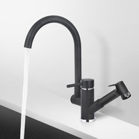 full copper brass kitchen dish brushed basin faucet mixer tap with hot and cold waterfall black basin faucet Single Hole