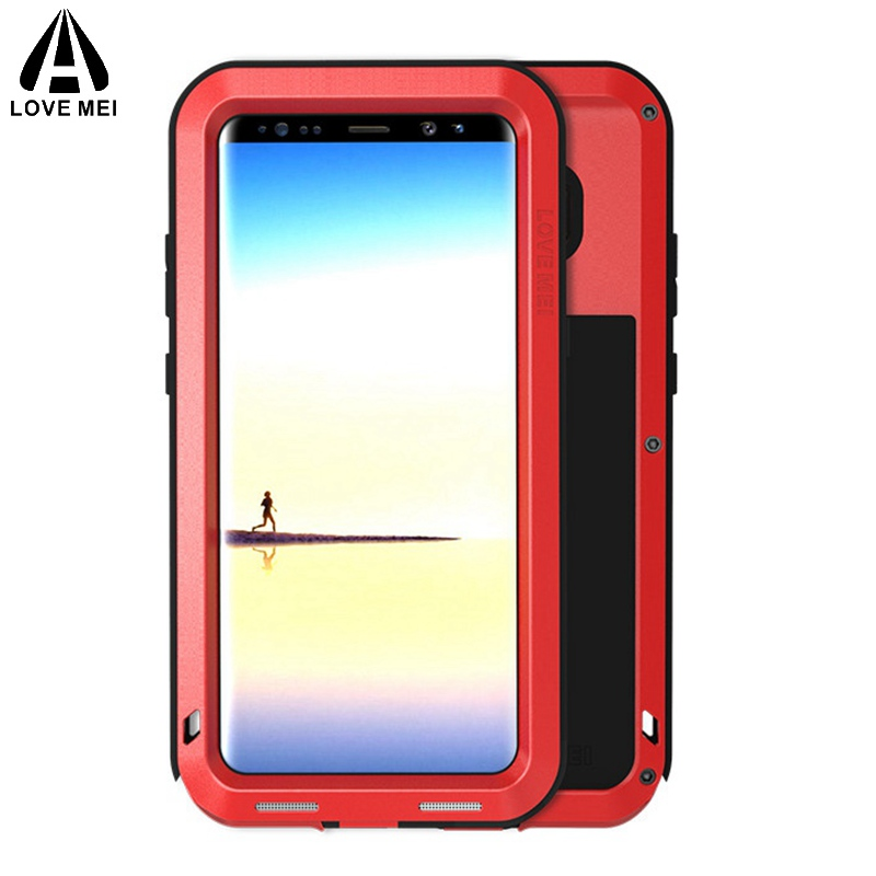 Love mei Aluminum Metal Cover For Samsung Note8 Cases Armor Shockproof Full Body Phone Cover For