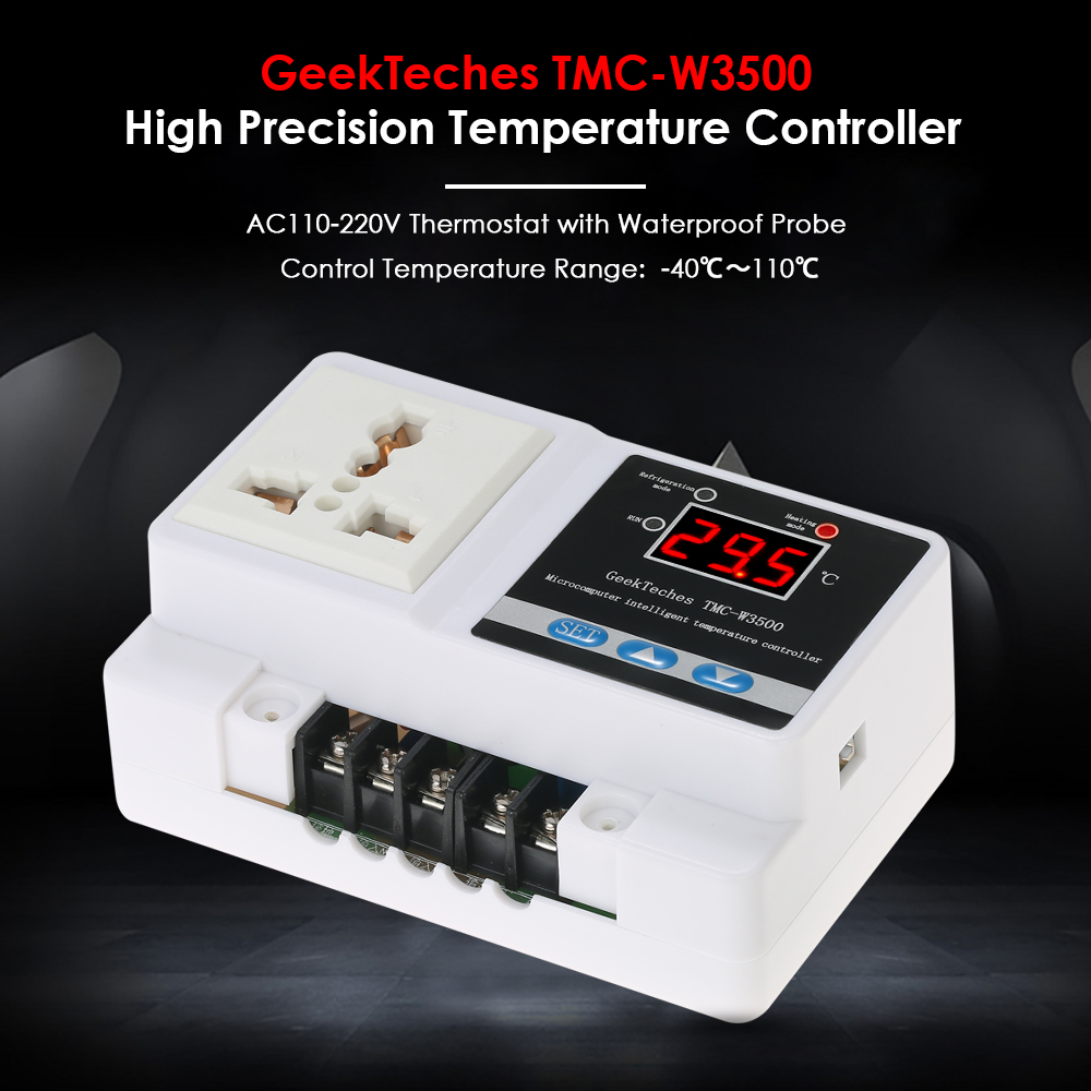 TMC-W3500 AC110-250V LCD Thermoregulator Digital Temperature Controller Thermocouple Thermostat + Socket Waterproof Sensor Probe replacement ac 250v 13a temperature control kettle thermostat top socket