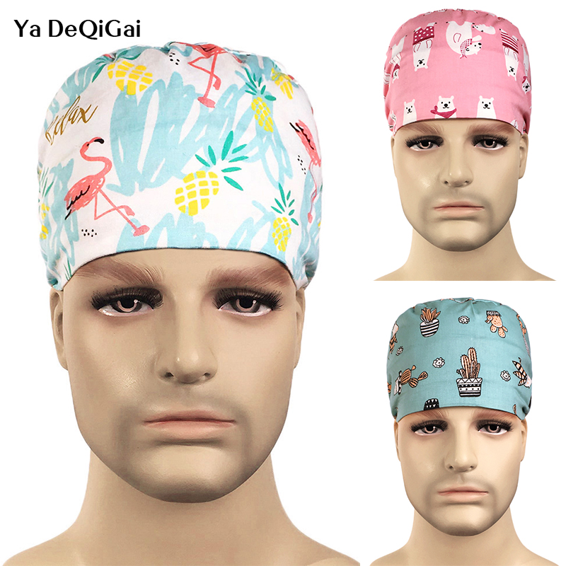 Medical Surgical Scrub Caps Breathable Cotton Adjustable  Printing Color Cap Pharmacy Dentist Pet Doctor Men And Women Cap/hats