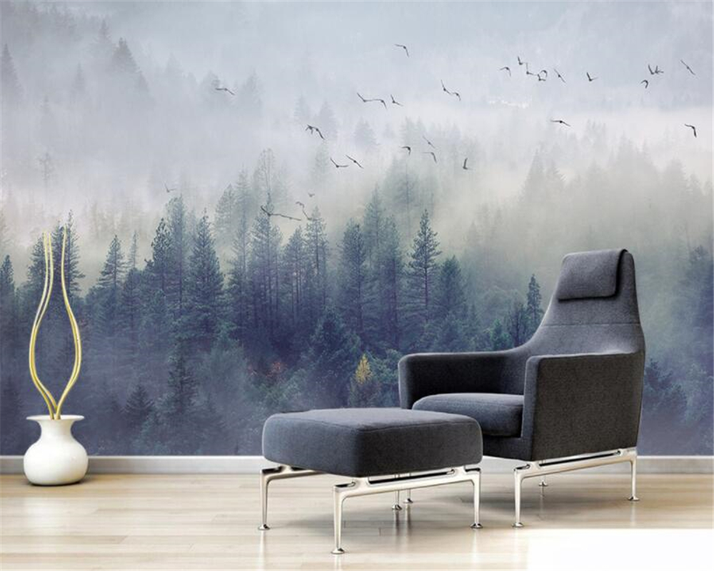 Beibehang custom 3d wall paper Nordic fresh forest landscape design background wall The sitting room photo wallpaper murals custom 3d photo wallpaper mural nordic cartoon animals forests 3d background murals wall paper for chirdlen s room wall paper