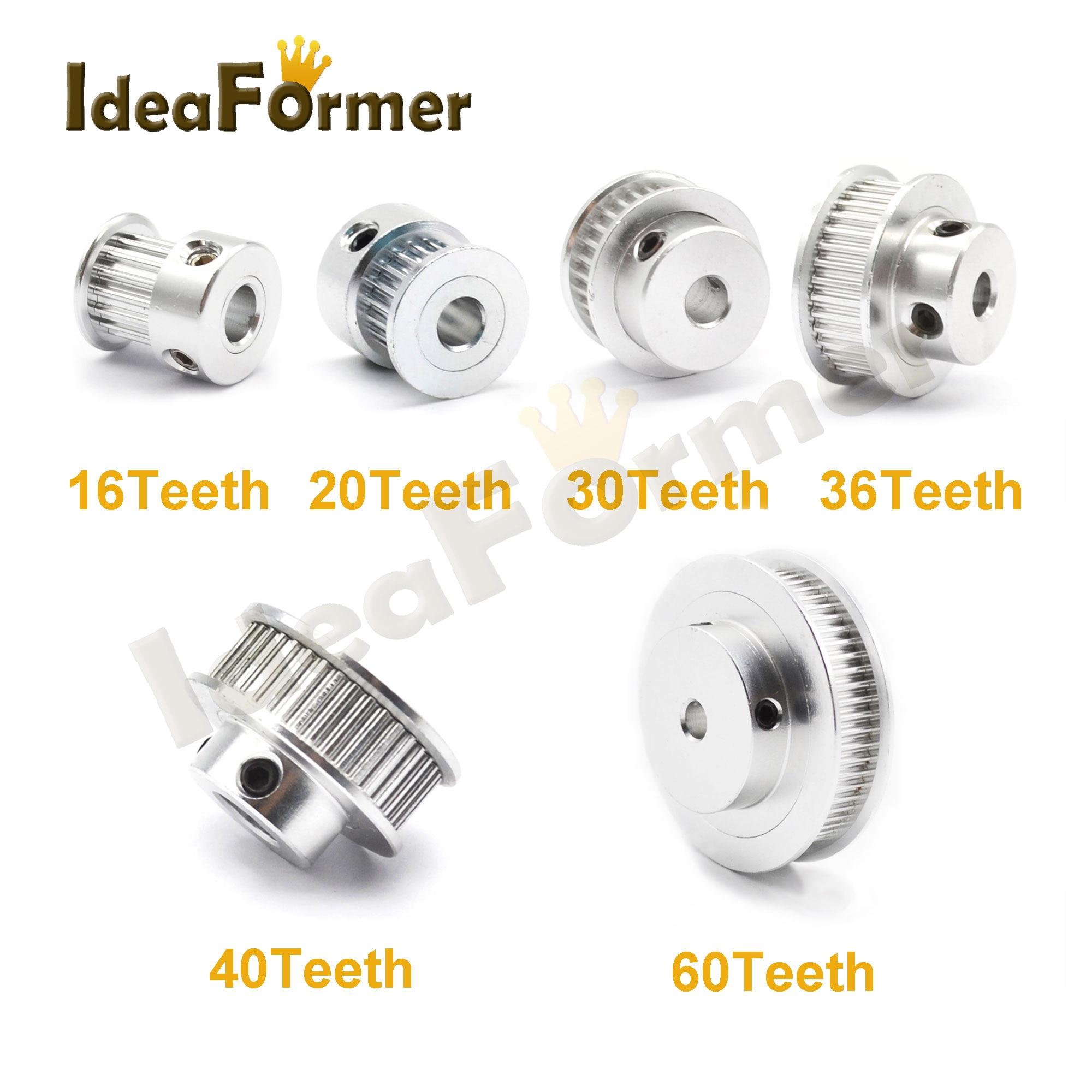 GT2 20 Teeth Timing Pulley 16 20 30 36 40 60 Teeth Aluminum Bore 5mm 8mm Fit In GT2 Belt Width 6mm 3D Printer GT2 Pulley