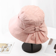 2019 Straw Hat Sweet Concise Sunscreen Hats For Women Solid Color Bow-knot Travel Straw Hat Beach All-match Bucket Hat stylish bow band white match black hipsters straw hat for women