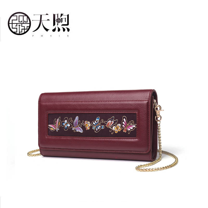 Pmsix Messenger Bag Female 2018 new fashion leather Messenger packet First layer leather clutchPmsix Messenger Bag Female 2018 new fashion leather Messenger packet First layer leather clutch