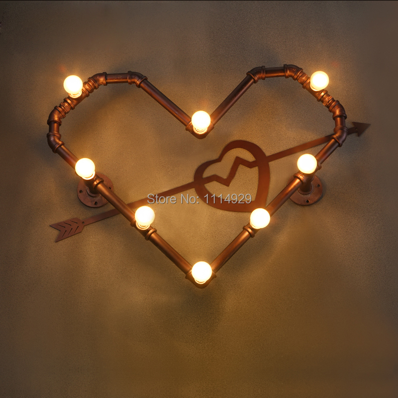 Newest Loft Water Pipe Wall Lamps Personality Heart-Shaped Wall lamp Innovative Design Vintage Lights Antique Home Decoration