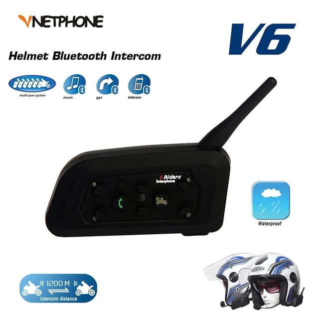 VNETPHONE 1200 M BT de La Motocicleta del Bluetooth Del Intercomunicador Del Casco de 6 Riders Interphone Comunicación Full Duplex Bluetooth Inalámbrico Auriculares