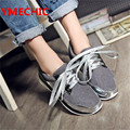 YMECHIC Plus Size Ladys Casual Flat Shoes Out Door Wear Lace Up Flat Gray Woman Girls Flock Cloth Female Spring Autumn Shoes