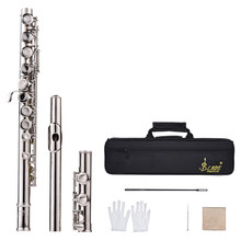 16 Holes C Key Flute Cupronickel Silver Plated Concert Flute with Cleaning Cloth Stick Gloves Screwdriver Padded Bag(China)