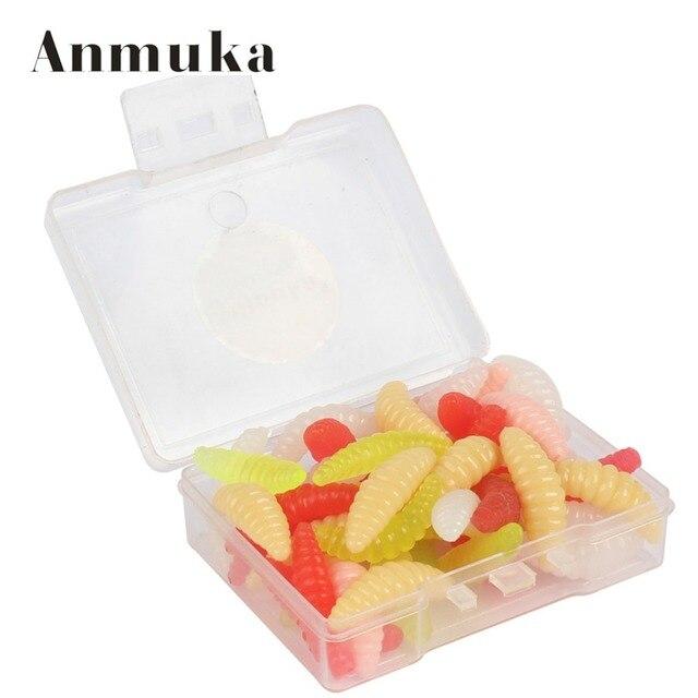 Anmuka 50pcs/box 2cm Pole Bait Fishing Lure Soft Bread Bug Bionic Grubs Trout Lure Soft Bait Fishing Tackle