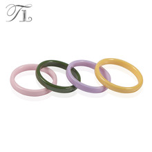 TL 4 Colors Simple Ceramic Rings For Women Cute Thin Ceramic Rings Green&Yellow&Pink&Purple Color Unique Wedding Engagement Ring