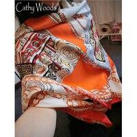La Beau 100 Silk Scarf Women Summer Scarf Orange Gallery Printed Design Scarf Ladies Pure Silk