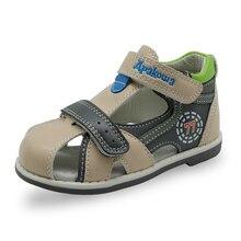 Apakowa Новые дети летняя обувь hook & loop закрыты носок малыша мальчиков сандалии ортопедические спорта pu кожаные мальчиков сандалии обувь