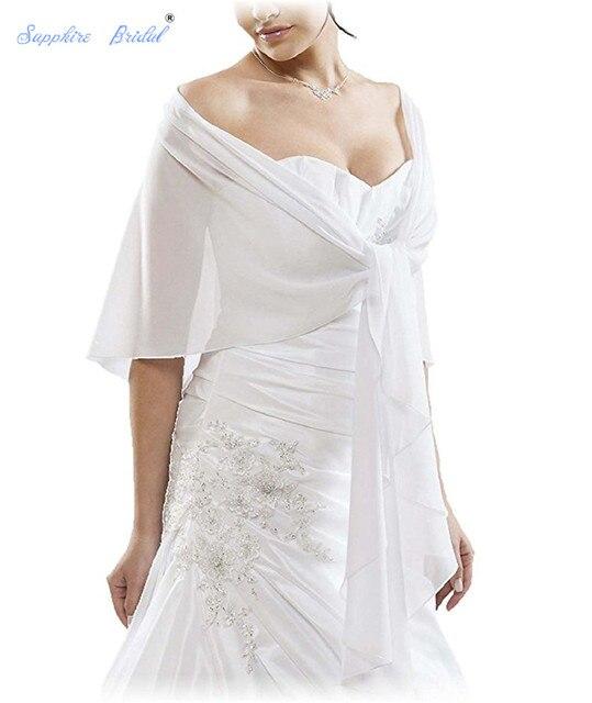 bcc4d12004085 Sapphire Bridal White Black Ivory Burgundy Vestido De Festa Women Shawl  Wraps Shrug Chiffon Evening Wedding Cape Bolero Cover Up