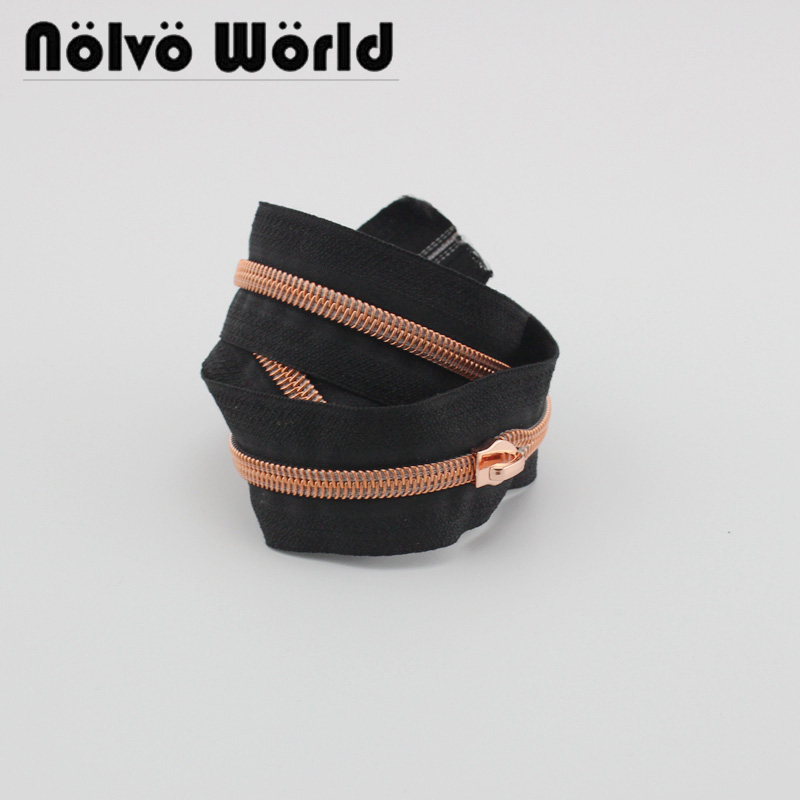 30 Yards Size 5 Black Tape Rose Gold Nylon Teeth Zipper Plastic Coil Zipper,or Plus 30 Pieces Puller For DIY Bags,purse Sewing