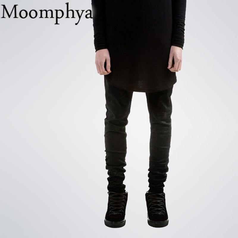 Черные мужские джинсы узкие джинсы известный дизайнер бренда Slim Fit прямые джинсы однотонные мужские High Street Kanye байкер джинсы