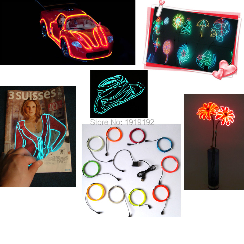 20Meters 1.3mm 10 Color Choice EL Wire Flexible Neon LED glowing Light Tube Rope For Wedding Home Festival Party Decoration