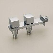 Moderne Doppel Wasser Outlet Düse Garten Waschmaschine Wasserhahn Messing Tippen Badezimmer Schnelle Auf Armaturen Poliert Chrome Finish