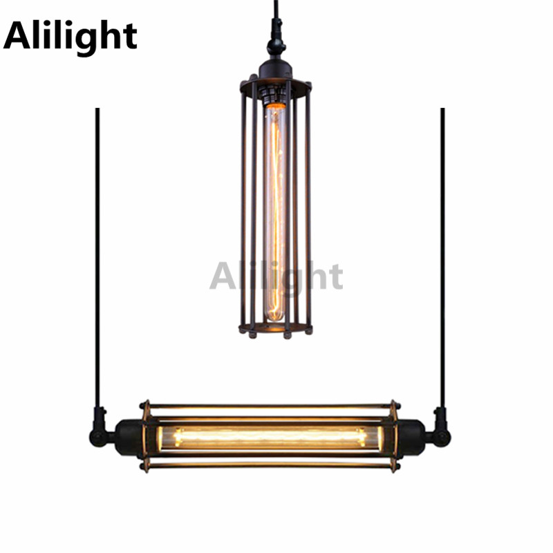 Modern Punk Style Black Iron Art E27 Rustic Ceiling Light Without Bulb Dining Room Lamp