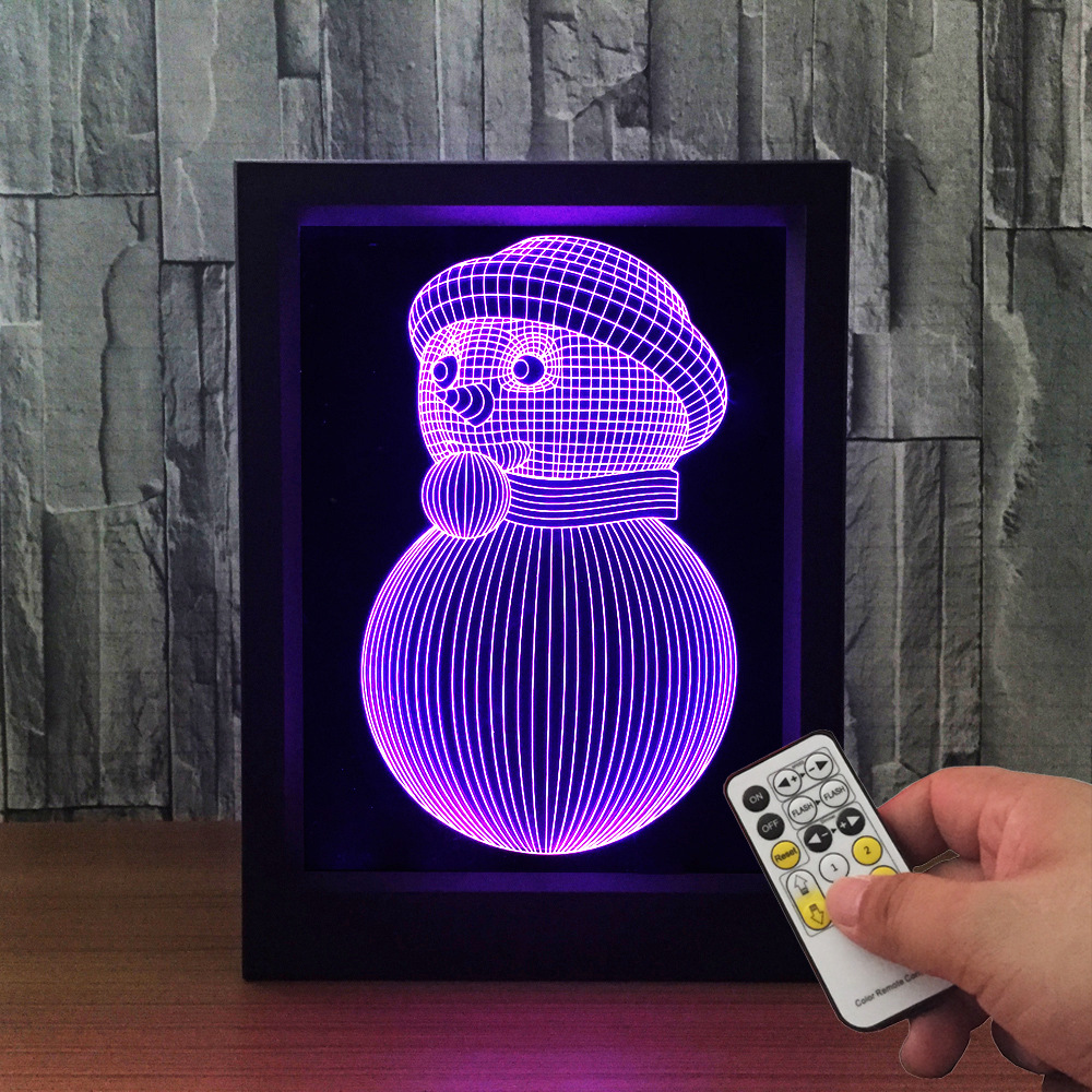 Lovely Snowman 3D Lamp Photo Frame illusion lamp 7 Color Change Desk lamp LED Night light bedroom light For Christmas gift acrylic 3d headset frame lampremote touch switch bedroom bedside lamp 7 color change led desk lamp bedroom light as gift