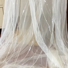 1 Yard Stripe Beaded Birdal Tulle Lace Fabric in Ivory with Clear Sequin for Bridal Veil Cape Wedding Gown Overlay 130cm Wide