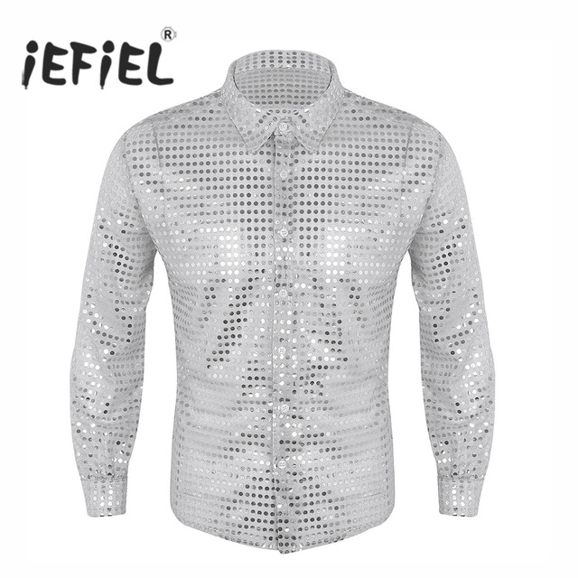 iEFiEL Mens Fashionable Clothing Shiny Sequins See Through Mesh Long Sleeve Clubwear Evening Dance Performance Top Shirt