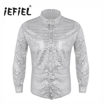 iEFiEL Mens Fashionable Clothing Shiny Sequins See Through Mesh Long Sleeve Clubwear Evening Dance Performance Top Shirt Tuxedo Shirts