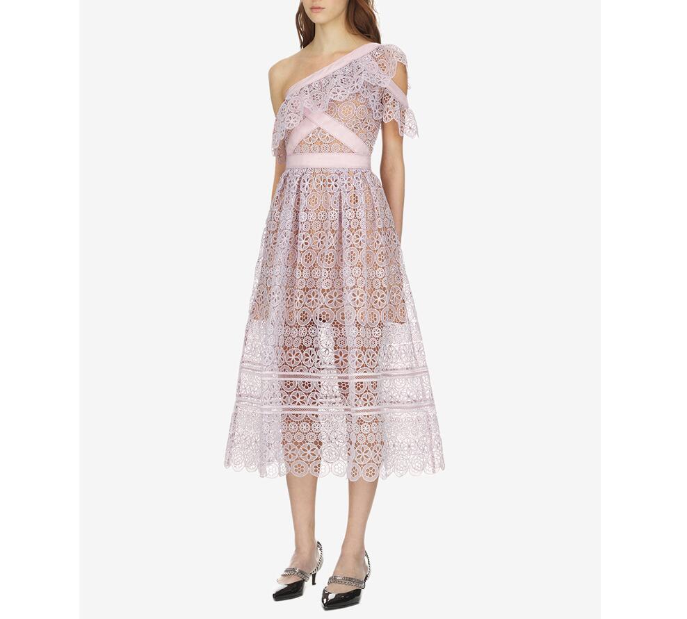 2018 été violet clair une épaule femmes dentelle robe sexy évider femme robe de soirée de haute qualité robes d'été robes